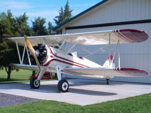 Stearman at the hanger with Airtech Fabric and paint